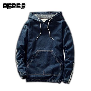 Hoodies Harajuku Fashion Denim Jeans Pullovers Hoodie Men Sweatshirts Big Pocket Soft Cloth Denim jacket men New High Quality