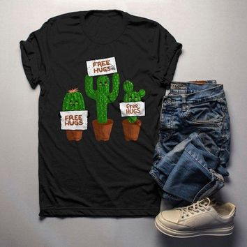 Men's Funny Cactus T Shirt Free Hugs Shirt Hilarious Graphic Tee Bad Day Shirts