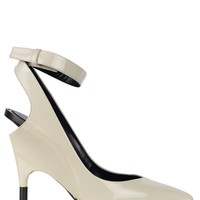 Tom Ford Womens Chalk White Patent Leather Ankle Heel Pumps