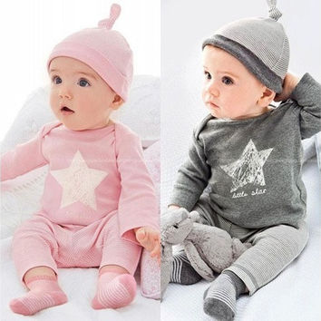 Newest Baby Infant Clothing set Bodysuit Star Tops Pant Hat Outfit Clothes 0~24M [8833433932]