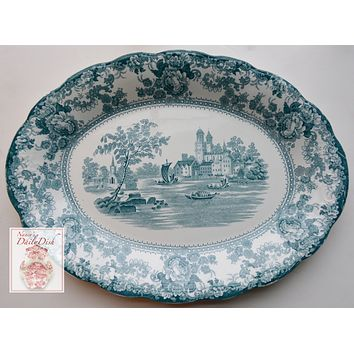 Antique Staffordshire China Teal English Transferware Platter Circa 1891 Roses Boats Church