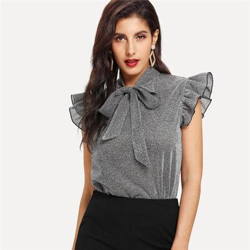 Womens Gray Tied Neck Ruffle Sleeve Casual Tops And Blouses New Elegant Office Lady Party Glitter Top Clothing