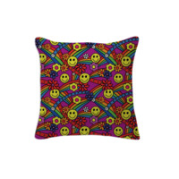 Rainbow Smiley Hippie Pattern Pillow created by HippyGiftShop | Print All Over Me