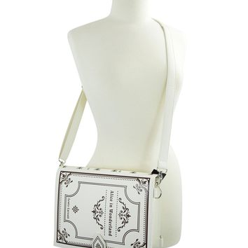 Gothic Lolita Alice in Wonderland Book Shape Crossbody Clutch Bag - Ecru
