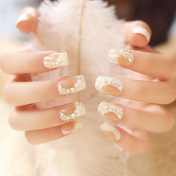 24 PCS White Rhinestone and Floral Applique Nail Art