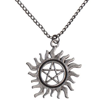 Licensed cool Supernatural Anti-Posession Rune Symbol Pendant Necklace Silver Black Tone NEW