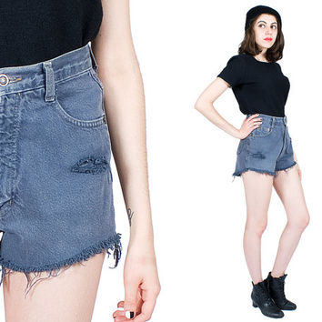 Grey Denim Shorts 90s Vintage 1990s New Time High Rise Cut Off Distressed