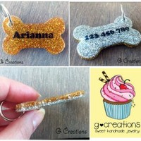 Glitter Bone Dog Tag - Gold and Silver - Personalized Custom Handmade Dog Pet ID - Resin - Male Female - Glitter Dog Collar Accessory