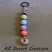 Crown PV MOD Charm with Candy Striped Acrylic Beads Handmade Dangel