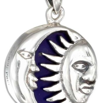 Sterling Silver Charm:  Sun And Moon On Blue Pendant