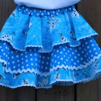 Girls Frozen OLAF, Girls skirt, Ruffle skirt, birthday outfit, ruffle summer skirt, baby ruffle summer skirt, Girl ruffle skirt, toddler