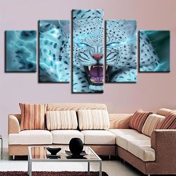 5 Pieces Animal Leopard Tiger Blue Eyes Pictures Wall Art Panel Print Picture