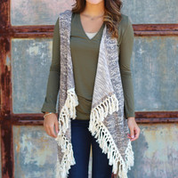 Solitude Frayed Sweater Vest {Mocha Mix}