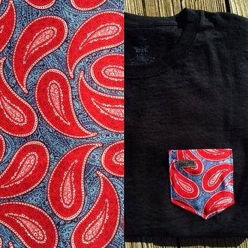 Large Print Red and Blue Paisley Patterned Pocket Tee - Retro Bandana Pattern, Light Blue Background