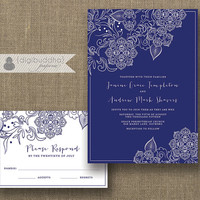 Navy & White Lace Wedding Invitation and RSVP 2 Piece Suite Shabby Chic Classic Navy Blue Modern Script Floral DiY or Printed- Janine