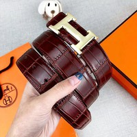 Hermes Fashion New H Letter Buckle Couple Leather Leisure Belt Coffee