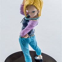 UEKKO Anime Dragon Ball Z Super Saiyan Android 18 stand pvc Action Figure Model Funko Pop Collection Kid Toy Gift free shipping
