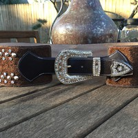 Rodeo Wide Bling Belt with Rhinestones and Wing Design ~ Brown