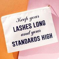 Keep your lashes long and your standards high Makeup Bag, Makeup Pouch, Custom Bag (More Colors)