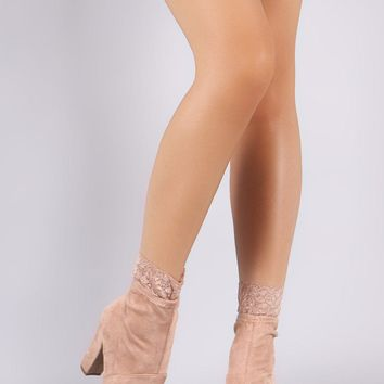 Bamboo Suede Peep Toe Lace Chunky Heeled Ankle Boots