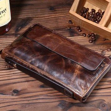 VONE05D mens retro genuine leather long wallet handmade card hold purse gift 08 2