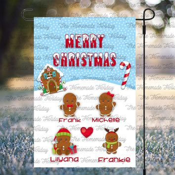 Personalized Gingerbread Family Lawn Flags