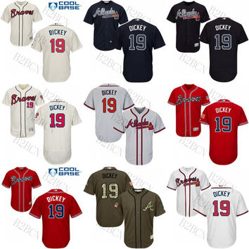 MEN'S/Youth 2017 Flexbase Authentic Collection Men's Atlanta Braves 19 R.A. Dickey cool base throwback baseball jerseys Stitched