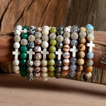 1 Stretchy Bracelet 10MM Natural Stones Ball/Cross