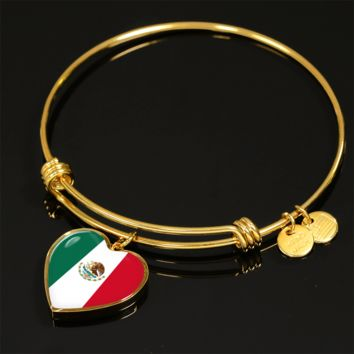 Mexican Pride - 18k Gold Finished Heart Pendant Bangle Bracelet