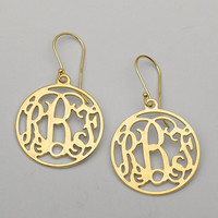 "Yellow Gold ""Geanean"" Monogram Earrings"