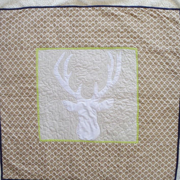 Deer crib quilt -  Lime and navy bedding item - Ready to ship