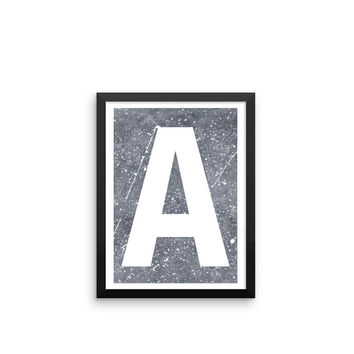 Marble Initial Print 1 | ART PRINT | A5/A4/A3/A2 - Nursery Print, Art Print, Monogram, Leopard Print, Personalised Art, Personalized Art