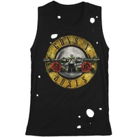 Guns N Roses Women's  Circle Guns Destroyed Womens Tank Black