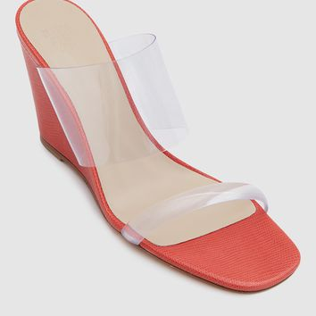 Maryam Nassir Zadeh / Olympia Wedge in Red Faux Lizard