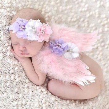 Angel Wings Feather Wings Baby Girl Flower Lace Headband Photo Shoot Hair Accessories For Newborns Head Band Photography Props