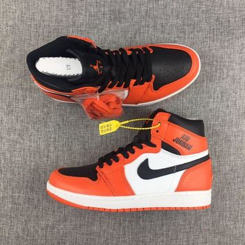 New Material 2017 AJ1 Nike Logo Orange White Mens Shoes