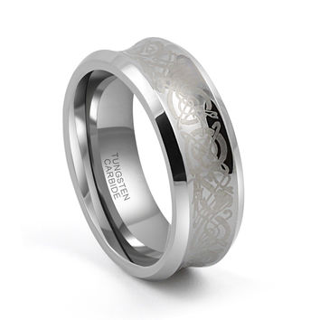 8mm Tungsten Wedding Band Concave Etched Celtic Dragon Beveled Edges Comfort Fit