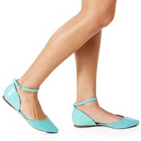Mint SuedePatent Pointed Flats