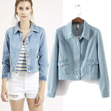 Women's Fashion Rinsed Denim Three-quarter Sleeve Denim Jacket [5013147076]