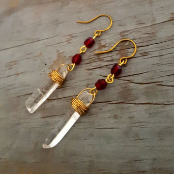 Garnet Crystal Earrings, Raw Crystal Earrings, Clear Quartz Crystal Long Dangle Earrings, Garnet Dark Red Stone, Garnet Jewelry, Raw Stone