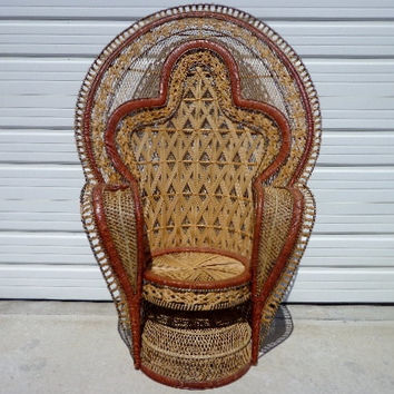 SOLD Peacock Chair Fan Bohemian Boho Chic  Regency Rattan Armchair Chair Chippendale Chinoiserie Bambo Chair Mid Century Bentwood Wicker