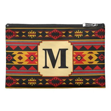 Southwest Design Red Black Gold Monogram Travel Accessory Bags