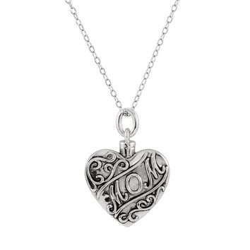 Antiqued 'MOM' Heart Ash Holder Necklace in Sterling Silver, 18 Inch