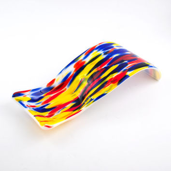 Colorful Fused Glass Spoon Rest, Modern Kitchen Decor, Pillar Candle, Utensil Holder, Countertop Display, Spoon Holder, Kitchen Gifts