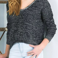 Dark Gray V-Neck Side Split Chunky Long Sleeve Knit Sweatshirt