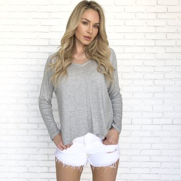 Snuggle Up Knit Top in Grey