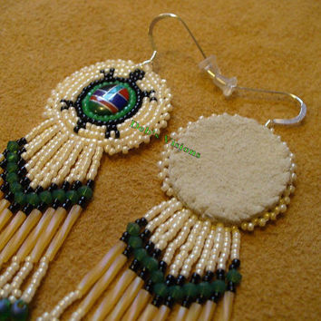 Rosette beaded Turtle (Ulinawi-in Tsalagi) Earrings