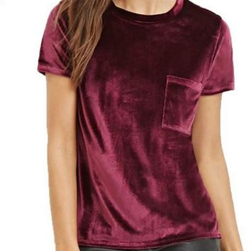 Fashion pure color round neck short sleeve T-shirt