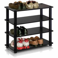 Furinno 13081 Turn-S-Tube No-Tools 4-Tier Shoe Rack - Walmart.com