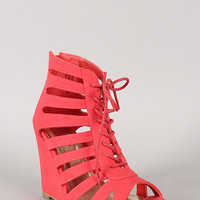 Bamboo Royce-03 Caged Lace Up Open Toe Wedge Sandal